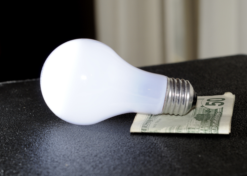 Lightbulb and dollar bills